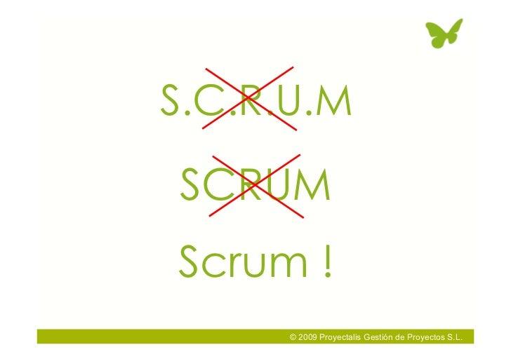 S.C.R.U.M  SCRUM Scrum !       © 2009 Proyectalis Gestión de Proyectos S.L.