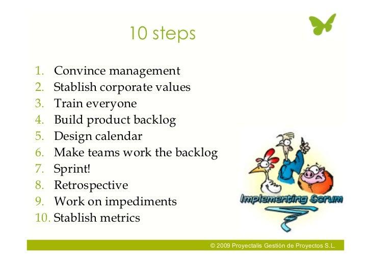 10 steps 1. Convince management 2. Stablish corporate values 3. Train everyone 4. Build product backlog 5. Design calendar...
