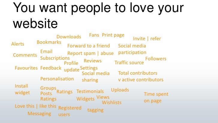 You want people to love your website<br />Fans<br />Print page<br />Downloads<br />Invite   refer<br />Bookmarks<br />Aler...