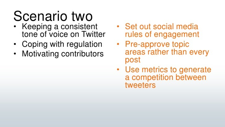 Scenario two<br />Keeping a consistent tone of voice on Twitter<br />Coping with regulation<br />Motivating contributors<b...