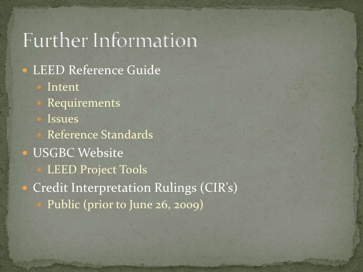 intent the real leed requirements