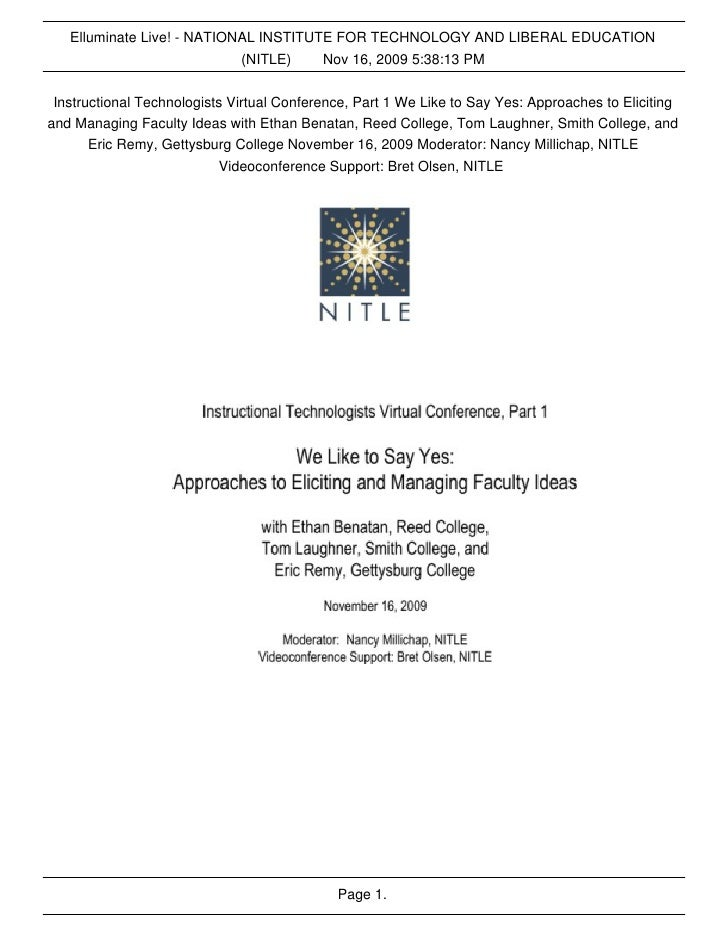 Elluminate Live! - NATIONAL INSTITUTE FOR TECHNOLOGY AND LIBERAL EDUCATION                             (NITLE)    Nov 16, ...