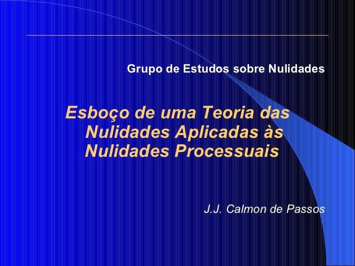 <ul><li>Grupo de Estudos sobre Nulidades </li></ul><ul><li>Esboço de uma Teoria das Nulidades Aplicadas às Nulidades Proce...