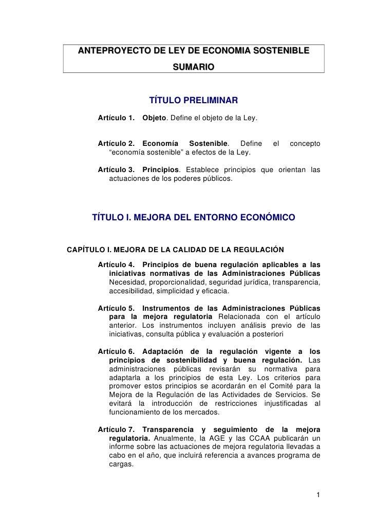 ANTEPROYECTO DE LEY DE ECONOMIA SOSTENIBLE                               SUMARIO                          TÍTULO PRELIMINA...
