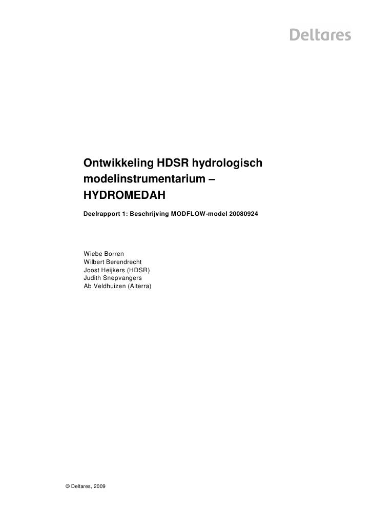 Ontwikkeling HDSR hydrologisch       modelinstrumentarium –       HYDROMEDAH       Deelrapport 1: Beschrijving MODFLOW-mod...
