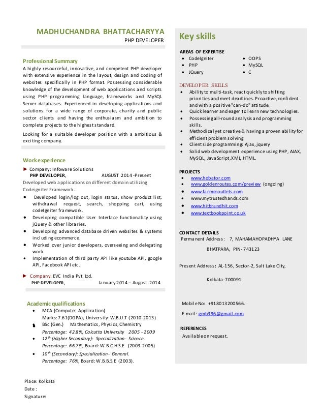 Web Developer Resume