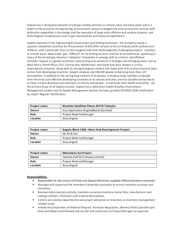 oil and gas project engineer cover letter