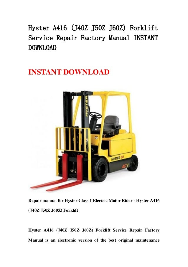 Hyster 60 manual on
