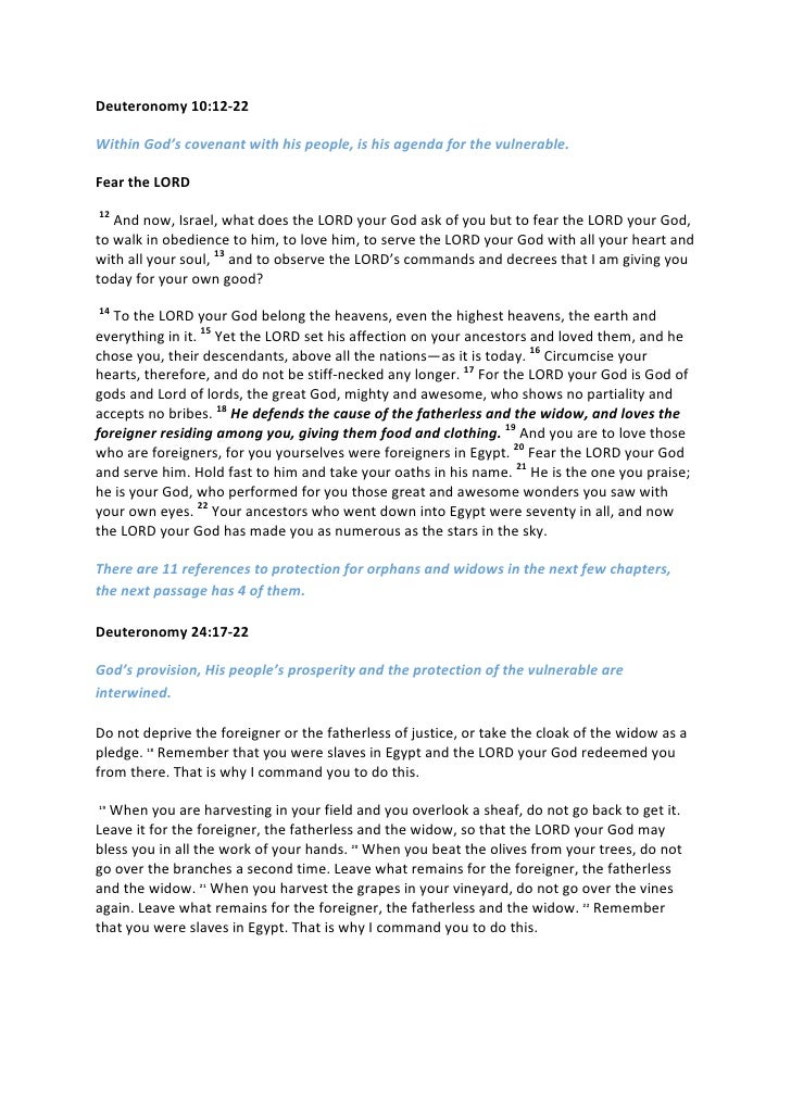 Deuteronomy10:12‐22WithinGod'scovenantwithhispeople,ishisagendaforthevulnerable.FeartheLORD12Andnow,I...