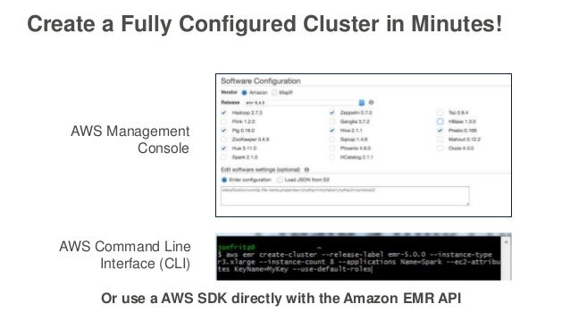 Create a Fully Configured Cluster in Minutes! AWS Management Console AWS Command Line Interface (CLI) Or use a AWS SDK dir...