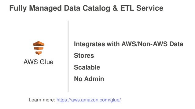 Fully Managed Data Catalog & ETL Service Integrates with AWS/Non-AWS Data Stores Scalable No Admin AWS Glue Learn more: ht...