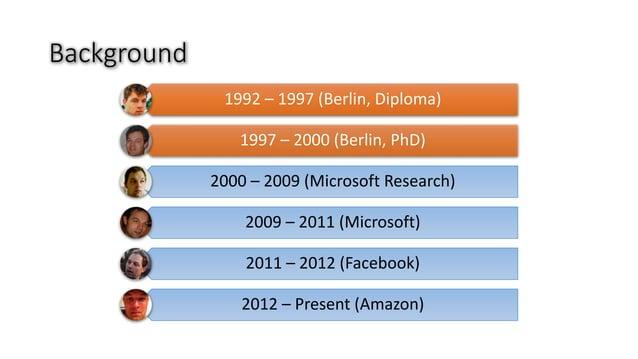 Background 1992– 1997(Berlin,Diploma) 1997– 2000(Berlin,PhD) 2000– 2009(MicrosoftResearch) 2009– 2011(Microsoft...