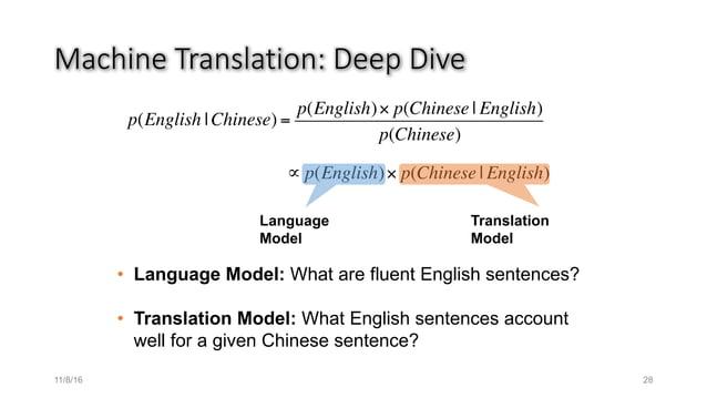 MachineTranslation:Deep Dive p(English  Chinese) = p(English)× p(Chinese   English) p(Chinese) ∝ p(English)× p(Chinese  ...