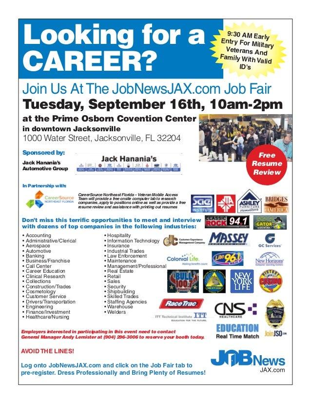 Jobnewsjax Com Job Fair Sep 16 2014