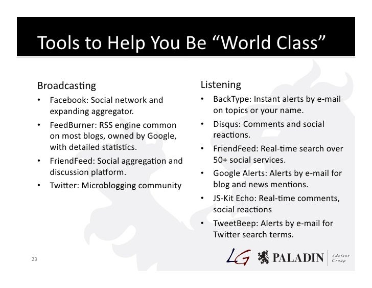 """Tools  to  Help  You  Be  """"World  Class""""       BroadcasCng                                           Liste..."""