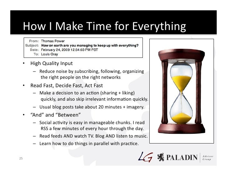 How  I  Make  Time  for  Everything        • High  Quality  Input             – Reduce  noise  by...