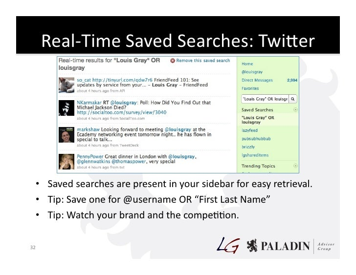 Real-‐Time  Saved  Searches:  TwiKer                                                               • Saved  se...