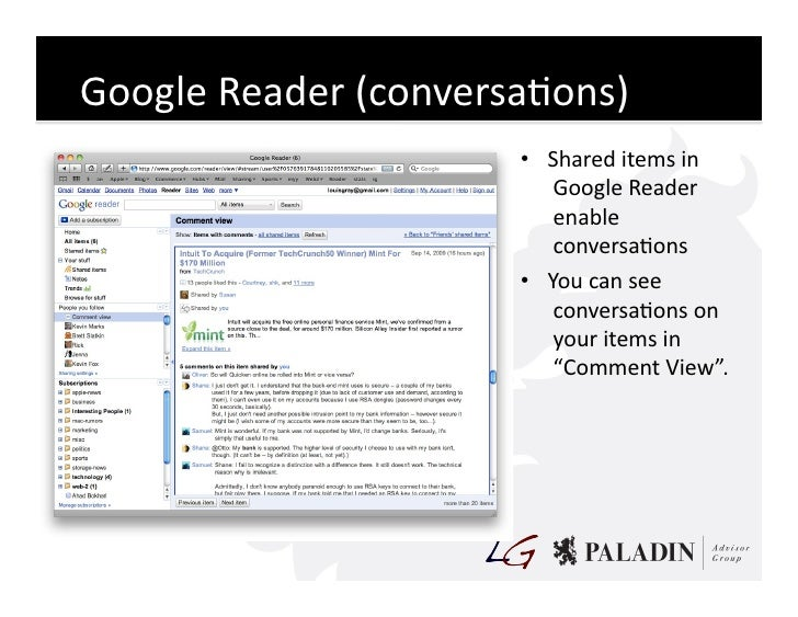 Google  Reader  (conversaCons)                                • Shared  items  in                              ...