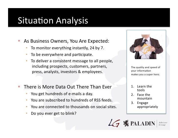 SituaCon  Analysis    As  Business  Owners,  You  Are  Expected:        • To  monitor  everything ...