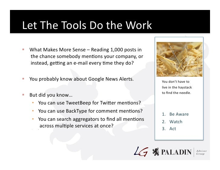 Let  The  Tools  Do  the  Work    What  Makes  More  Sense  –  Reading  1,000  posts  in    ...