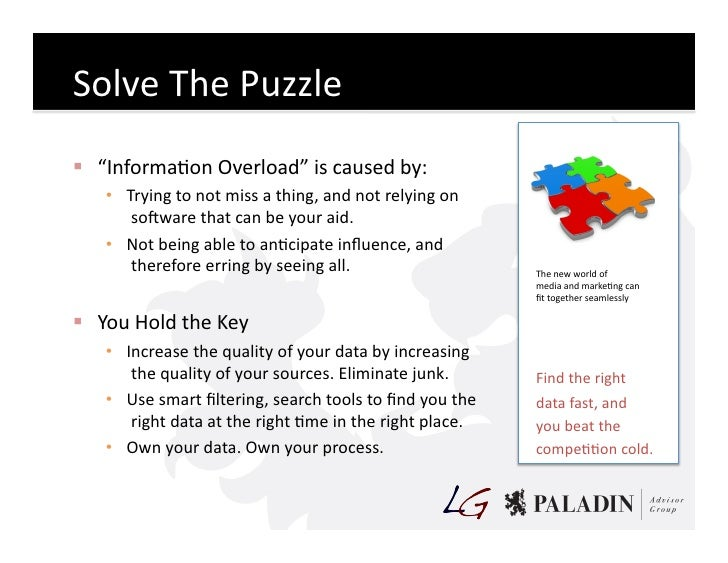 """Solve  The  Puzzle    """"InformaCon  Overload""""  is  caused  by:        • Trying  to  not  miss  a..."""