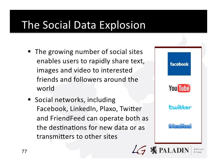 The  Social  Data  Explosion          The  growing  number  of  social  sites           enables  u...