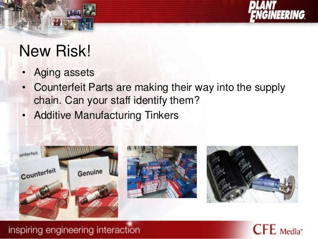 New Risk!  • Aging assets  • Counterfeit Parts are making their way into the supply  chain. Can your staff identify them? ...