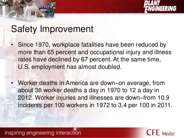 Safety Improvement  • Since 1970, workplace fatalities have been reduced by  more than 65 percent and occupational injury ...
