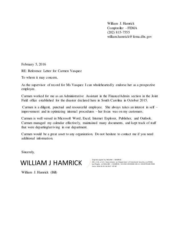 Bill Hamrick Recommendation Letter