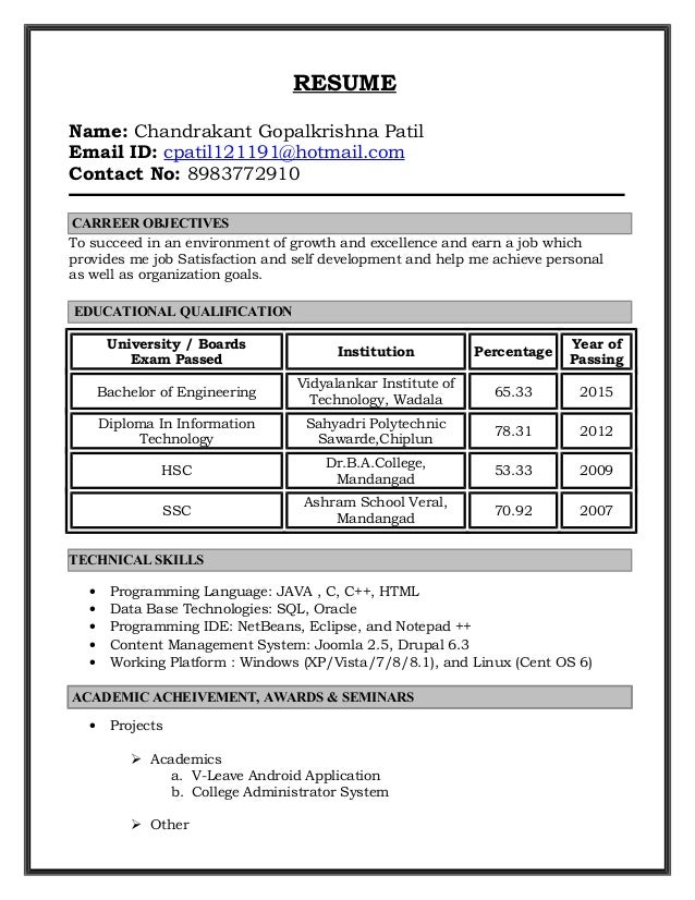 RESUME Name: Chandrakant Gopalkrishna Patil Email ID: cpatil121191@hotmail.com Contact No: 8983772910 To succeed in an env...
