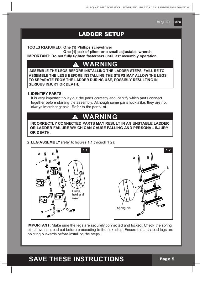 Intex Pool Ladder Manual For 48 Inch Swimming Pools