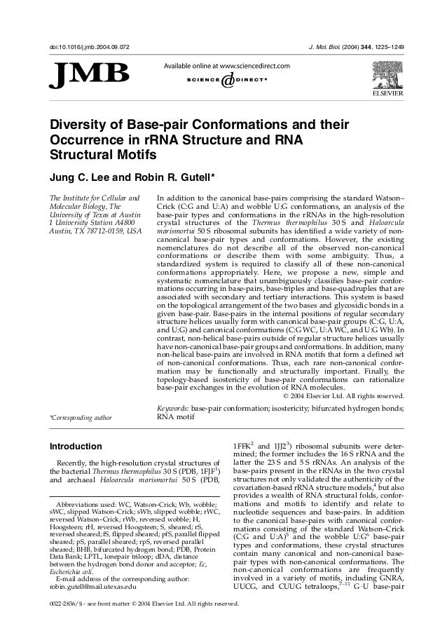 Diversity of Base-pair Conformations and theirOccurrence in rRNA Structure and RNAStructural MotifsJung C. Lee and Robin R...