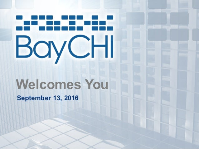 Welcomes You September 13, 2016