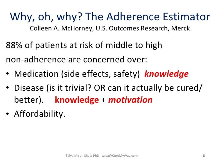 Why, oh, why? The Adherence Estimator  Colleen A. McHorney, U.S. Outcomes Research, Merck <ul><li>88% of patients at risk ...