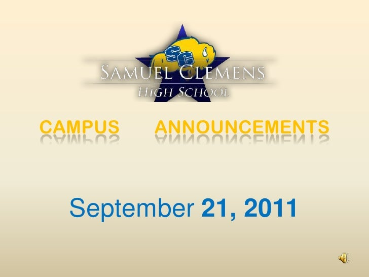 CAMPUS ANNOUNCEMENTS<br />September 21, 2011<br />