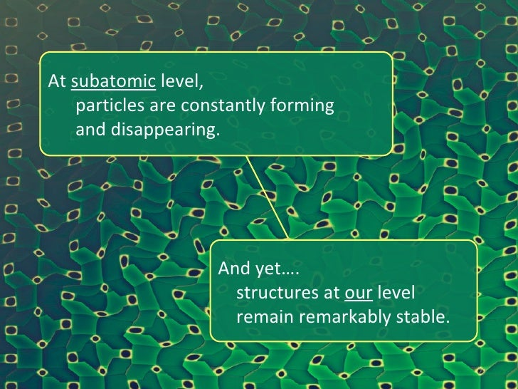At  subatomic  level,    particles are constantly forming    and disappearing. And yet…. structures at  our  level  remain...