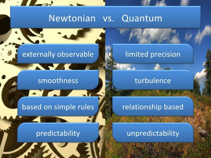 Newtonian  vs.  Quantum externally observable limited precision smoothness based on simple rules predictability turbulence...