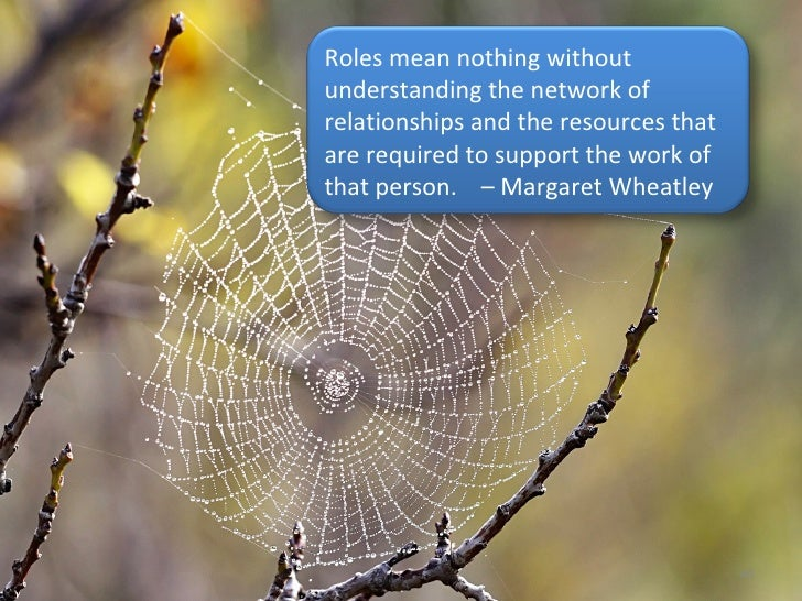 Roles mean nothing without understanding the network of relationships and the resources that are required to support the w...