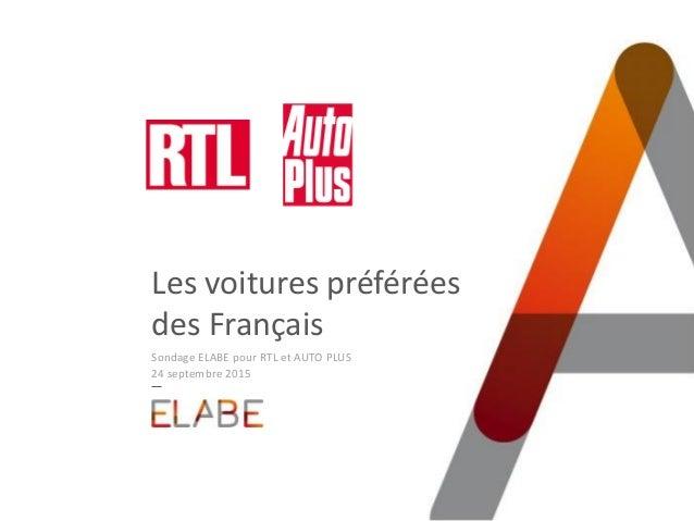 Les voitures préférées des Français Sondage ELABE pour RTL et AUTO PLUS 24 septembre 2015
