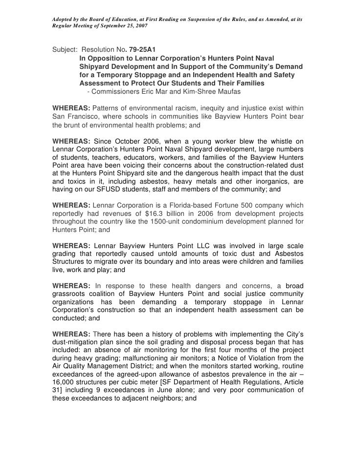 Adopted by the Board of Education, at First Reading on Suspension of the Rules, and as Amended, at its Regular Meeting of ...