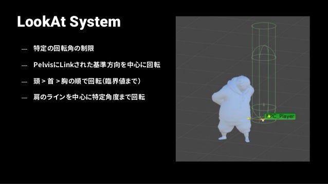 Problems on LookAt System — 特定の回転角制限 — Pelvisと肩のラインを中心に最大回転角制限 — 頭>首>胸の順で回転
