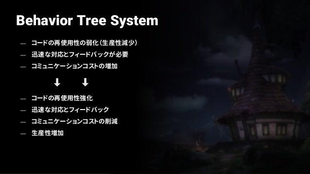 Behavior Tree System — チュートリアルの場合、発売直前まで 頻繁な変更要求発生 — 従来のハードコーディングされた チュートリアルをBTを活用しシステム化 — BTを通じて迅速で柔軟な対応可能