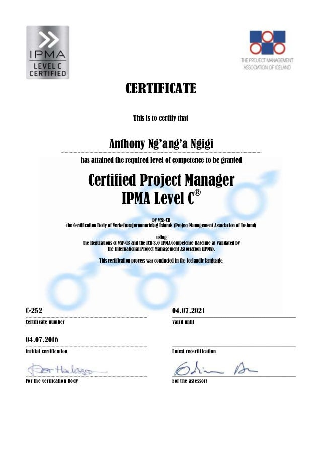 Anthony Ipma Clevel Certificate