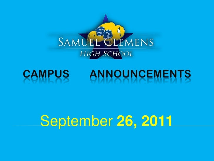 CAMPUS ANNOUNCEMENTS<br />September 26, 2011<br />