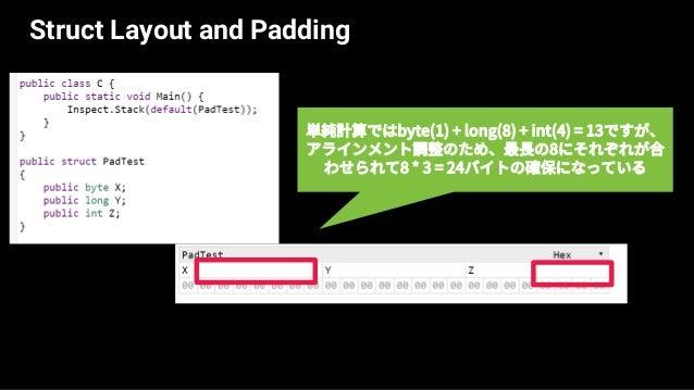 Struct Layout and Padding StructLayoutやFieldOffsetによってレイアウ トはカスタマイズ可能。 structのデフォルトはSequential(宣言順) Autoに変えると、ZとXが詰められることで...