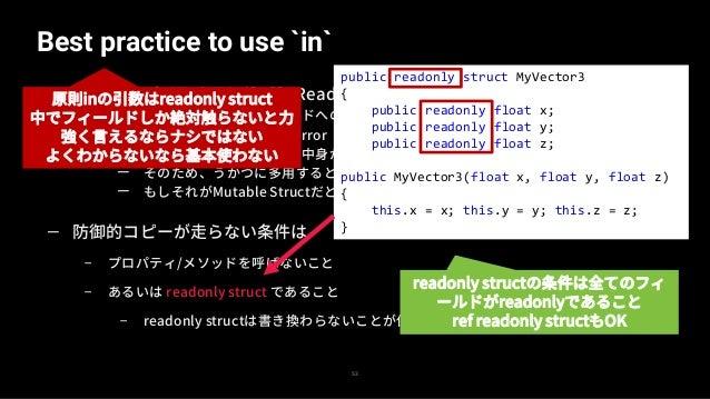 readonly field(struct)の罠 54 — readonlyなfieldのstructにmutableな操作を行っても変更されない — よって、ミュータブルな操作を行うものはreadonly fieldにすべきではない — 原則...