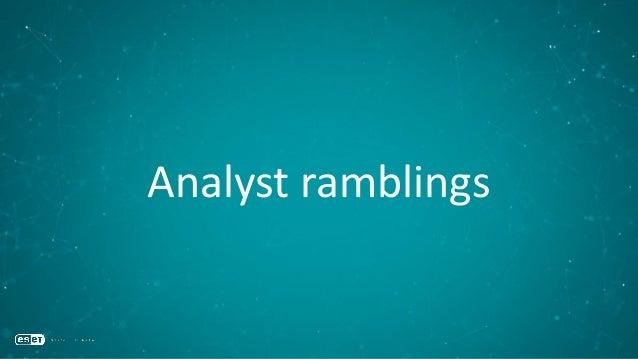 Analyst ramblings