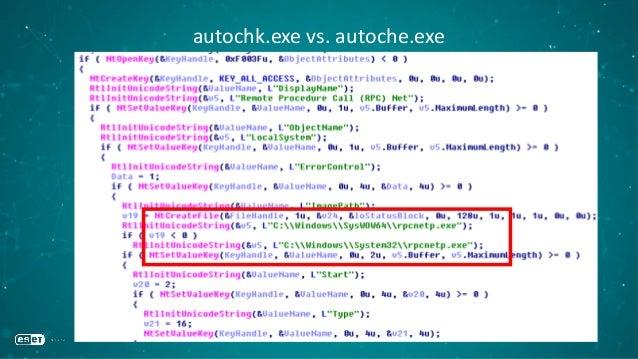 autochk.exe vs. autoche.exe