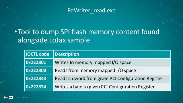 ReWriter_read.exe •Tool to dump SPI flash memory content found alongside LoJax sample IOCTL code Description 0x22280c Writ...