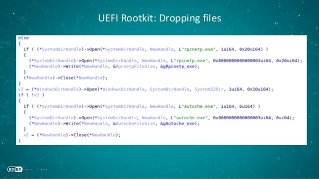 "UEFI Rootkit: Patching Windows Registry Value •Modifies Windows Registry via %WINDIR%System32configSYSTEM •Changes ""autoch..."